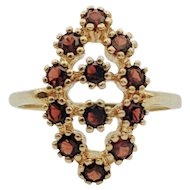 14kt Yellow Gold Vintage Garnet Cluster Ring