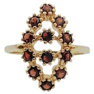 14kt Yellow Gold Vintage Garnet Cluster Ring