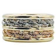 Tri-Tone Gold Double Band Ring