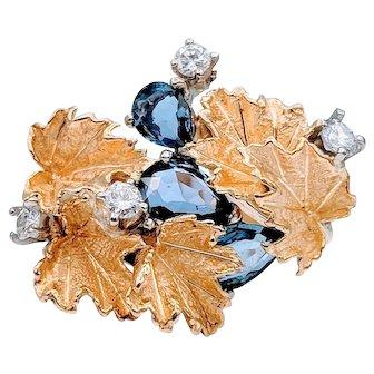 Vintage 18k Leaf Sapphire & Diamond Ring