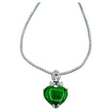 18k White Gold Jade Heart Pendant Necklace