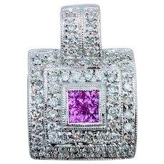 White Gold Diamond & Pink Sapphire Pendant