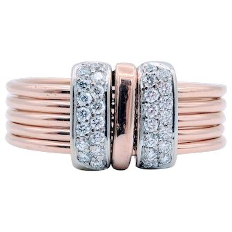 Vintage 18k 5 Band Diamond Ring