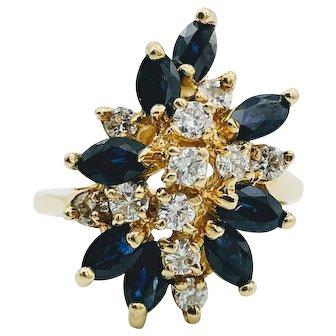 Yellow Gold Diamond Sapphire Cocktail Ring