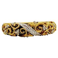 Vintage 18k Filigree & Diamond Accent Band