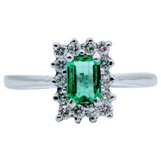 White Gold Natural Emerald Diamond Halo Ring