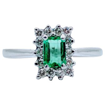 White Gold Natural Emerald Diamond Halo Ring