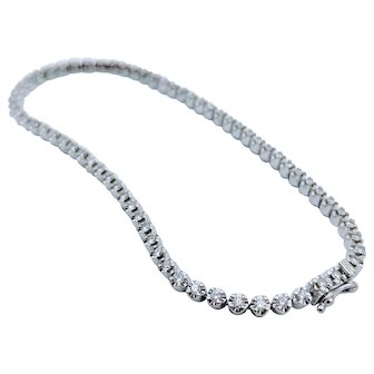 14k White Gold Diamond Tennis Bracelet .75 ctw