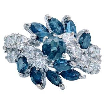 14K White Gold Diamond & Sapphire Cocktail Ring