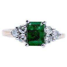 14k Yellow Gold Emerald & Diamond Accent Ring