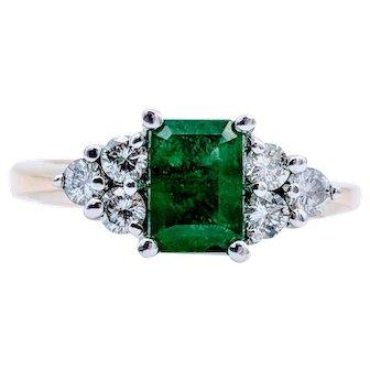 14k Yellow Gold Emerald & Diamond Accent Ring