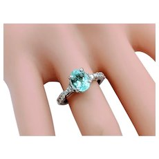 14kt White Gold Blue/Green Tourmaline, Diamond Accent Ring