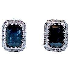 Natural Sapphire & Diamond Stud Earrings