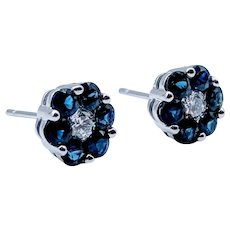 Natural Sapphire & Diamond Flower Stud Earrings