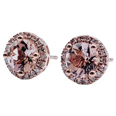 Stud Morganite & Diamond Earrings
