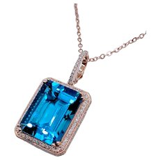 27ct Swiss Blue Topaz Pendant & Diamond W/Chain
