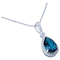 3.5ct London Blue Topaz & Diamond Pendant