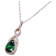 Natural 1.00ct Emerald & Diamond Pendant W/Chain