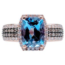 Rose Gold Blue Topaz & Chocolate Diamond Ring