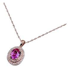 Pink Sapphire & Diamond Rose Gold Pendant W/Chain