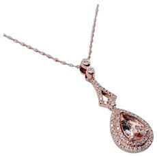 Elegant Morganite Rose Gold & Diamond Pendant W/Chain