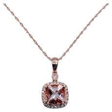 Morganite & Diamond Rose Gold Pendant W/Chain
