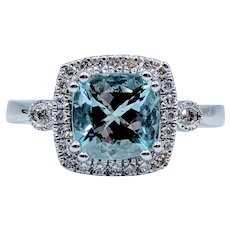 Stunningly Detailed Aquamarine & Diamond Ring