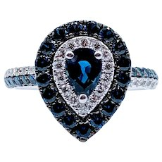 Pear Shape Sapphire & Diamond Ring
