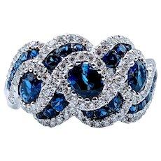 2ctw Sapphire & Diamond Twist Ring