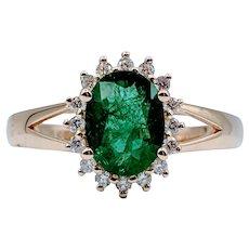 1.00ct Natural Emerald & Diamond Ring