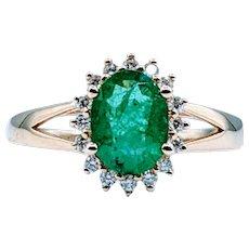 Natural .96ct Emerald & Diamond Ring