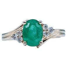 1.08ct Oval Emerald & Diamond Ring