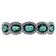 1.50ctw Emerald & Diamond Band
