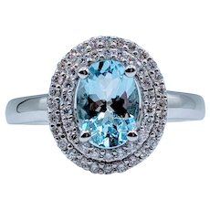 Aquamarine & Diamond Double Halo Ring