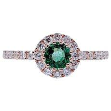 Rose Gold Emerald & Diamond Ring