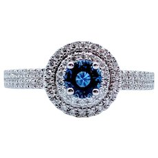 18kt White Gold Natural Sapphire & Diamond Ring