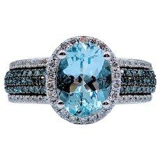 Aquamarine & Blue Diamond White Gold Ring