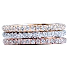 2.00ctw Tri-Color Stackable Diamond Eternity Rings