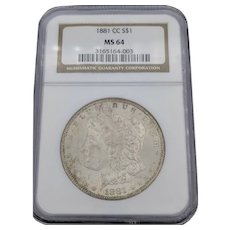 1881-CC Morgan Dollar MS 64 NGC