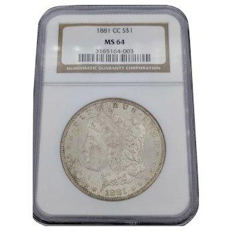 1881-CC Morgan Dollar MS 64 NGC