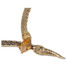 Whiting & Davis Snake Necklace/Belt,, Gold Metal Mesh, adjustable