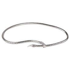 Whiting & Davis Snake Belt/Necklace, Silver Metal Mesh, adjustable
