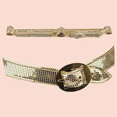 Vintage 80s Whiting Davis Mesh Belt, Gold Metal
