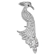 Vintage 1940s Rhinestone Bird Brooch, Silver Metal