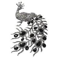 XKVintage Peacock Brooch, Black, Glass, & Silver Metal