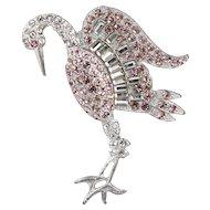 1940s Stork Brooch, Pink & Blush Rhinestones, Silver Metal Setting