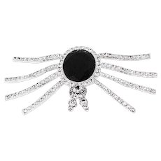 Vintage 80s Eisenberg Ice Spider Brooch, Rhinestones & Black Faceted Glass