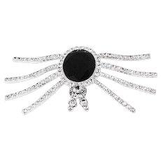 Vintage 80s Eisenberg Ice Spider Brooch, Rhinestones & Black Faceted Glass