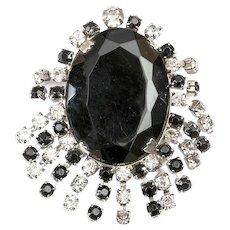 Vintage Rhinestone Fringe Brooch- Pin, Faceted Black Glass Center