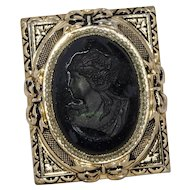 Coro Victorian Revival Mourning Cameo Brooch